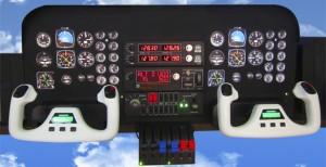 panel de simulador de vuelo